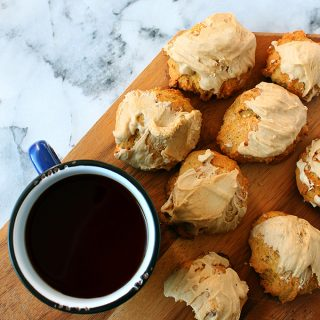 Mini pumpkin scones with brown sugar icing